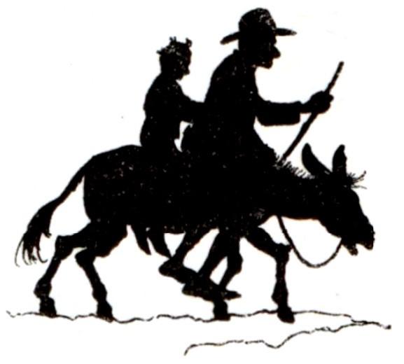 乗る, ウマ, 男, 挿絵 が含まれている画像  自動的に生成された説明